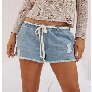 Aerie denim fringe shorts with rope belt